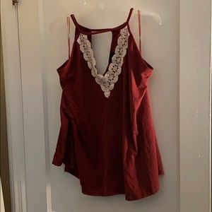 Maroon high neck tank top